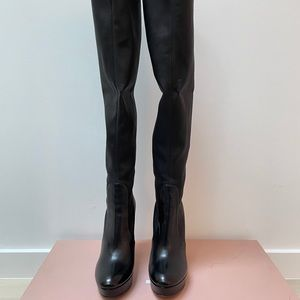 MIU MIU stretch leather over the knee boots